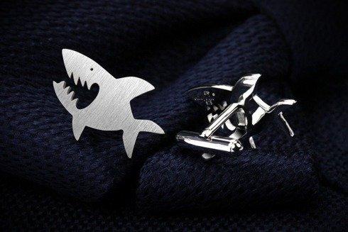 Silver Cuff Links Shark