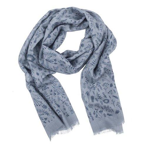 spring floral print wool & silk spring scarf