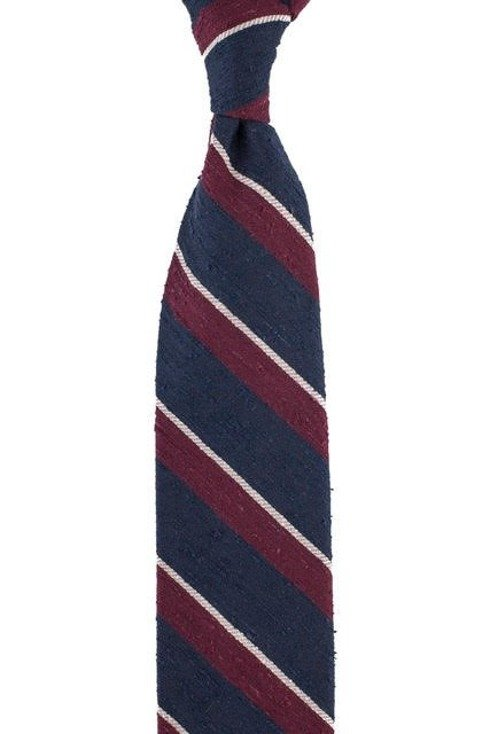 BLUE NAVY-BURGUNDY-WHITE REGIMENTAL SHANTUNG TIE