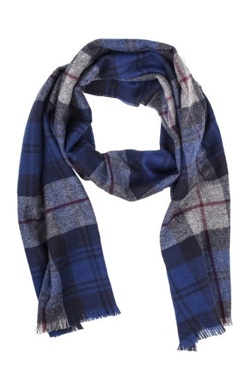 BLUE checked cashmere scarf
