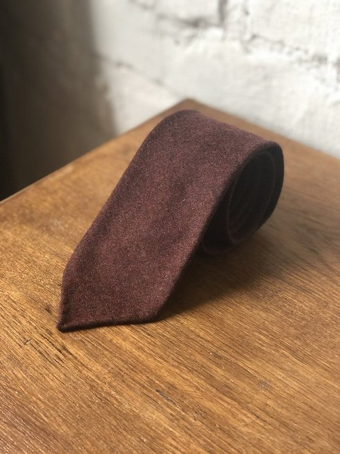 BURGUNDY FLANNEL UNTIPPED HANDROLLED TIE