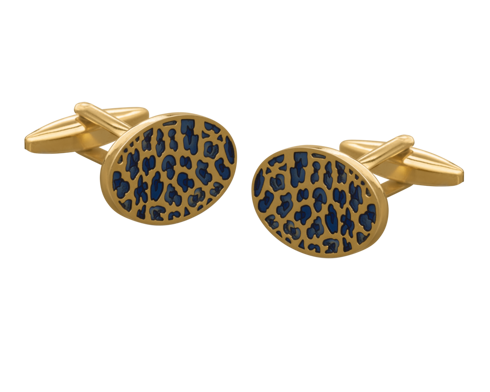 Blue and Gold Leopard Print Cufflinks