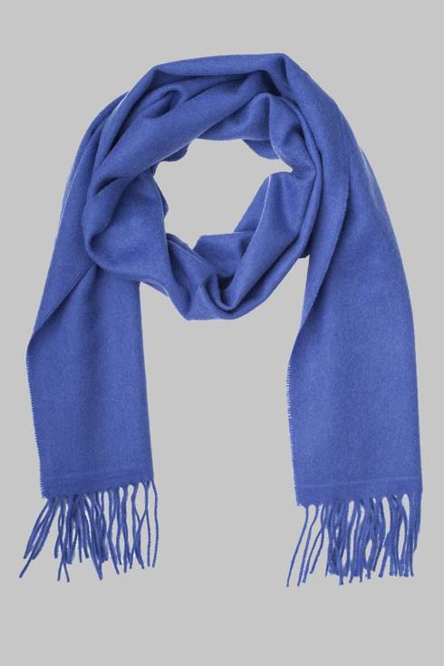 Blue cashmere checked scarf