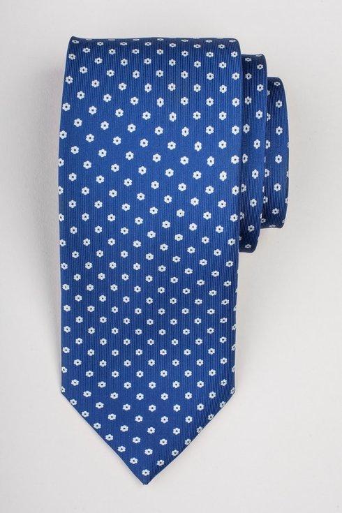 Blue printed three fold silk tie