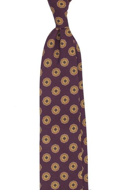 Burgundy printed wool untipped tie