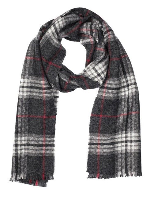 CHECKED GREY CASHMERE SCARF