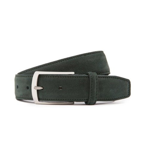 Green suede leather belt
