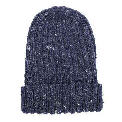 Hand-knit blue yarn beanie