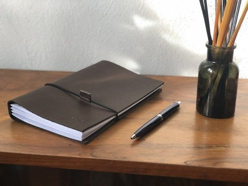LEATHER brown Notebook with refill