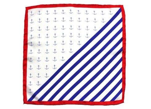 Marine silk pocket square