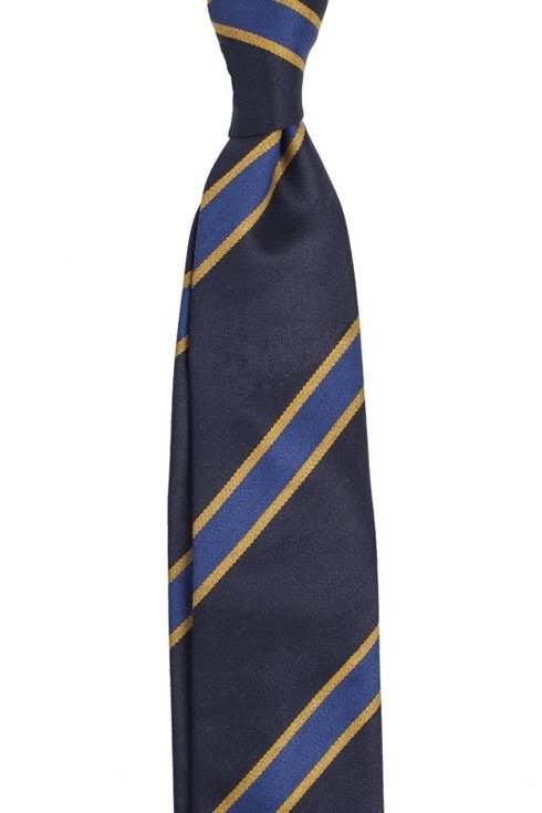 NAVY AND BLUE REGIMENTAL UNTIPPED HANDROLLED TIE