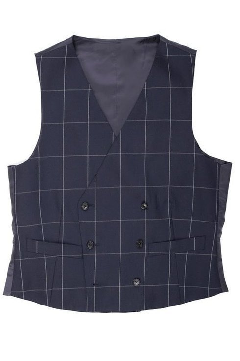 Navy blue double-breasted wool waistcoat