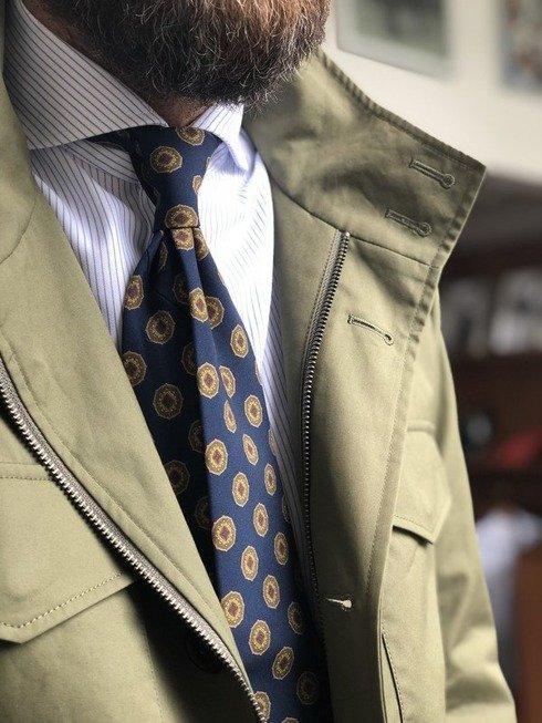 Navy blue printed wool untipped tie