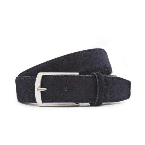 Navy blue suede leather belt