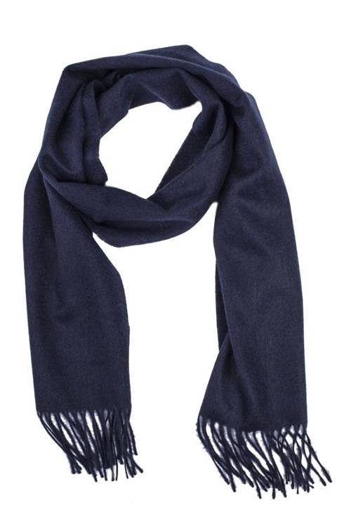 Navy cashmere checked scarf