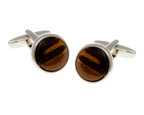 Round Tiger Eye Color Cufflinks