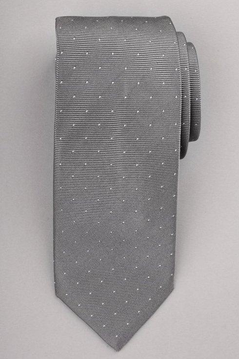 Silk jacquard polka dots light grey tie