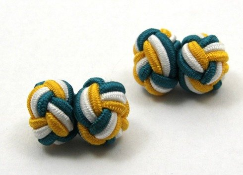 Silk knots yellow, white and turquoise