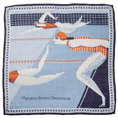 Silk scarf Gosia Herba ilustration