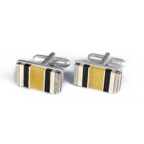Silver Cufflinks with amber AMBERWOOD