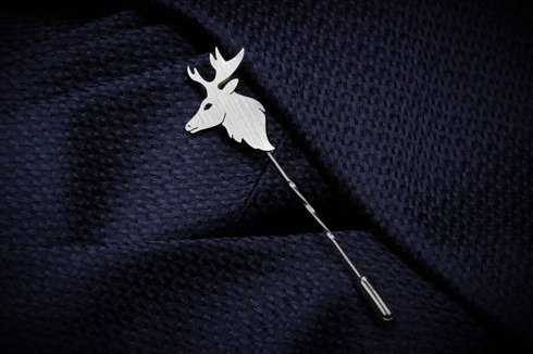 Silver Lapel pin deer