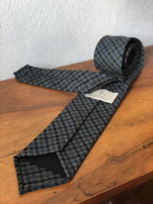 UNTIPPED WOOL TIE, NAVY-GREEN CHECK