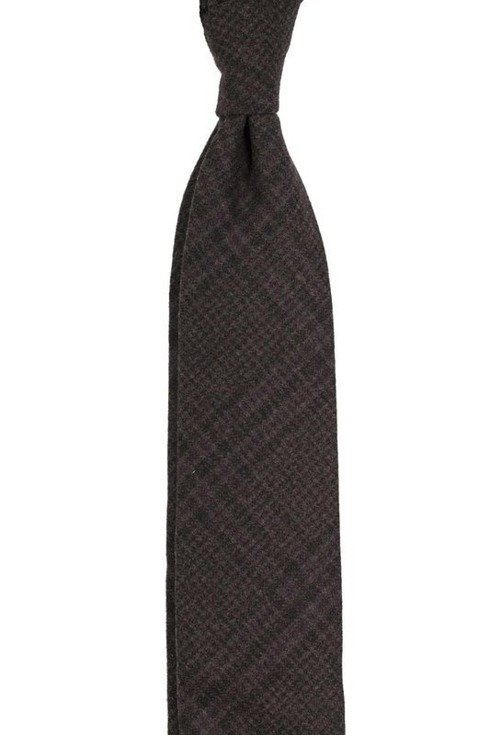 brown check cashmere TIE