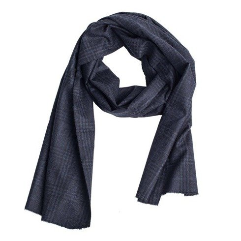 checkered navy cashmere scarf