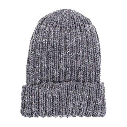 hand kniting grey tweed beanie