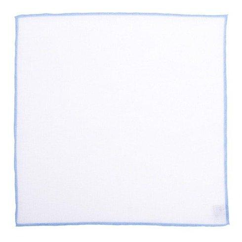 linen pocket square with blue border