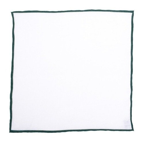 linen pocket square with green border