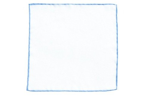 linen pocket square with sky blue border