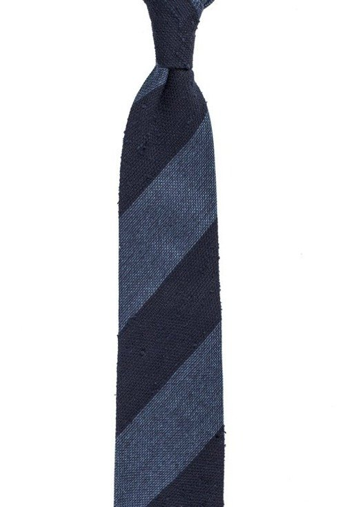 navy and blue shantung and grenadine melange untipped tie