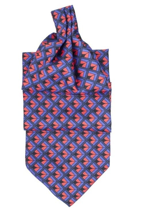 navy and red SILK ASCOT