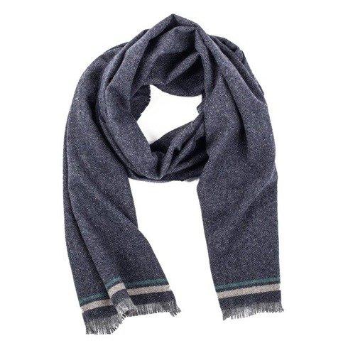 navy melange cashmere scarf