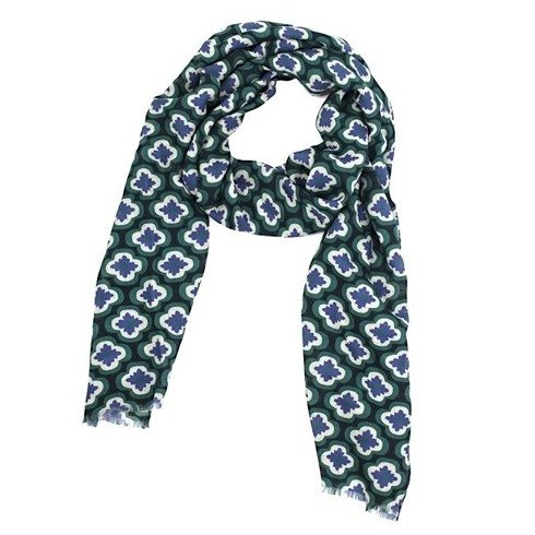 navy printed scarf with yak wool