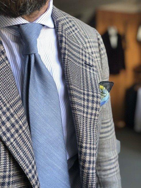 sea blue pastel linen & silk tie