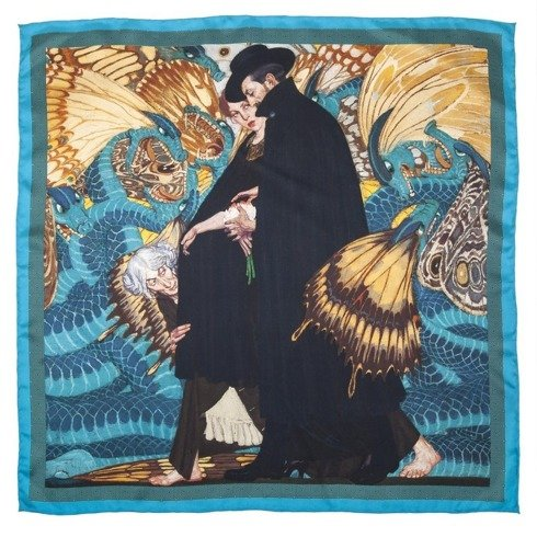 "silk 100cm scarf ""The war and us"" Edward Okuń"