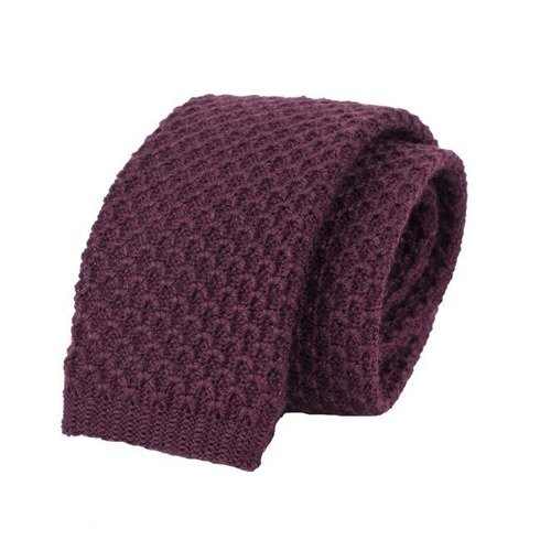 woolen burgundy knit tie