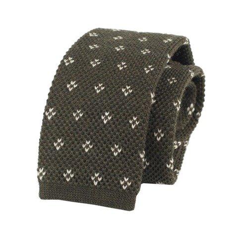 woolen green knit tie