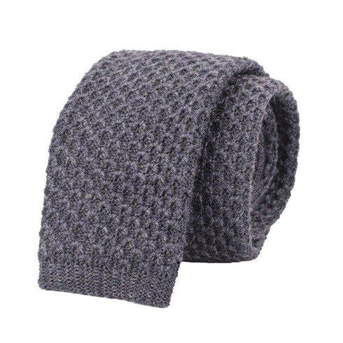 woolen grey knitted tie