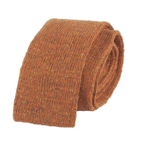 woolen orange knit tie