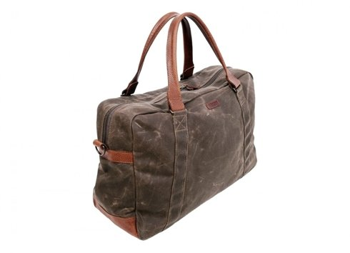 Brown waxed cotton weekender