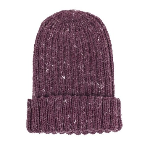 Hand-knit burgundy yarn beanie