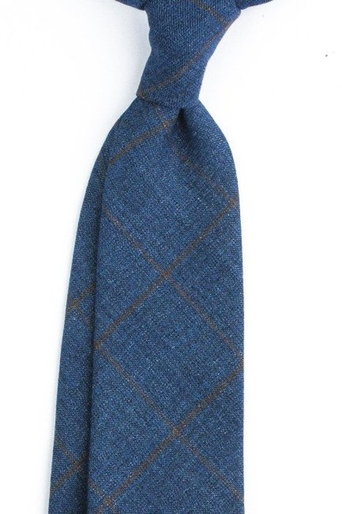 Linen NAVY CHECKED untipped tie