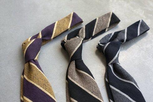 MUSTARD & PURPLE Raw silk tie