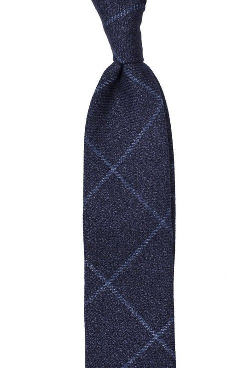 NAVY BLUE WOOL FLANNEL UNTIPPED HANDROLLED TIE