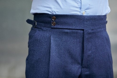 Preorder: blue flannel trousers