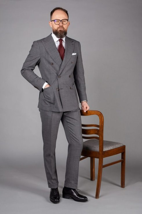 Preorder: grey double-breasted suit 'Portofino'