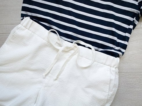 Seersucker jogger trousers